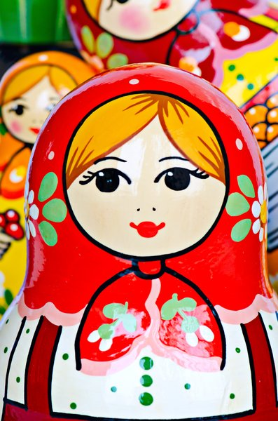 Matroshka: Bright colored matroska close-up
