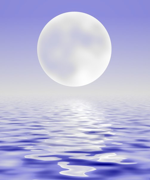 Water and Sky and Moon: A watery horizon with a large silvery moon.