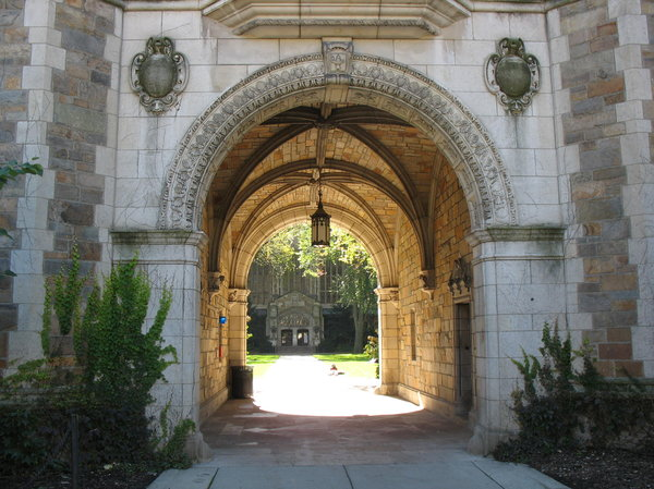 Law School archway: arch over a walkway to a law school campus