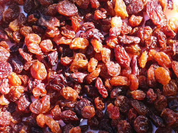raisins texture 2: Did you know - Raisins range from about 67% to 72% sugars by weight, most of which is fructose and glucose. They also contain about 3% protein and 3.5% dietary fiber. Raisins, like prunes and apricots, are also high in certain antioxidants.