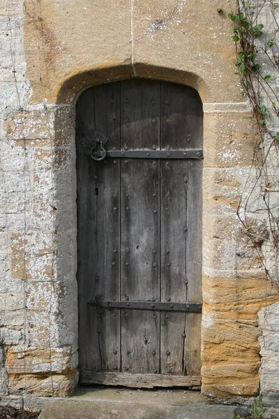 Old door: A door in an old stone house in Somerset, England.