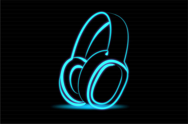 Sound: Shape of headphone and speaker like neon