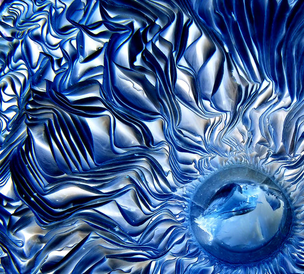 radiating blue folds: abstract backgrounds, textures, patterns, geometric patterns, circles, shapes and perspectives from altering and manipulating image