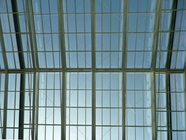 Glass Roof: Glass roof in an atrium.