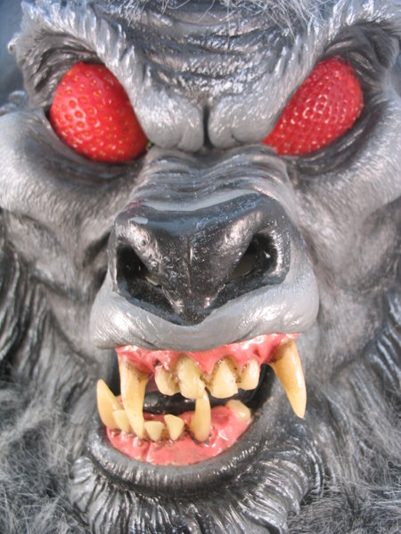 mad warewolf: warewolf mask with strawberry eyes
