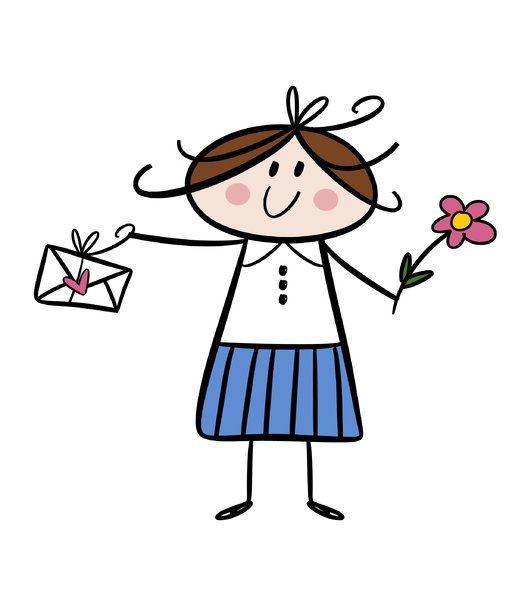 Cute little girl with letter a: Colorful cartoon drawing of a happy little girl holding a letter and flower in her hands