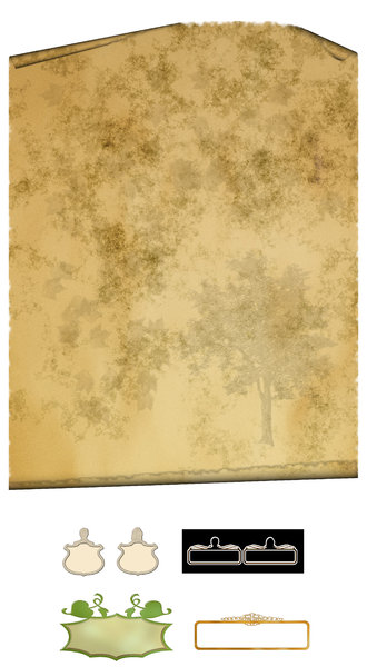 Parchment for family tree: Paper / Parchment and name tags. Print scroll to A3.