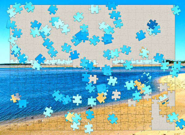 Holiday Jigsaw Puzzle: Put the pieces together for your perfect holiday. A beach scene in the form of a jigsaw puzzle, with pieces still to be placed correctly. A great illustration for planning your holiday or vacation.