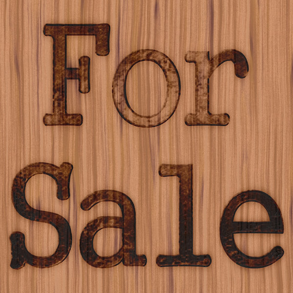 For Sale 1: A rustic, grungy for sale sign burnt into timber.