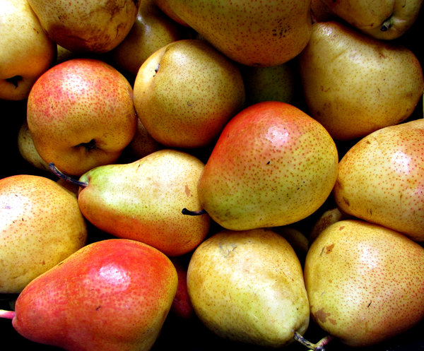 blush of colour: bulk quantity of pears with a 'blush' of colour