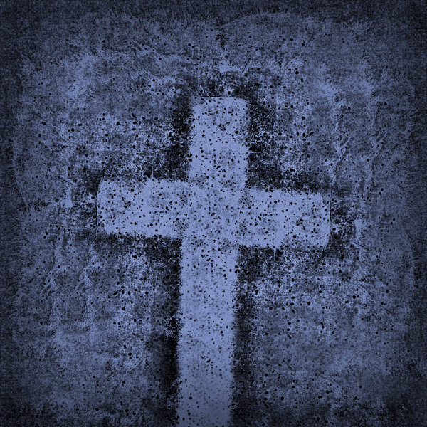 Blue Cross: A grungy blue cross.