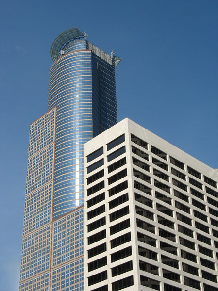 downtown minneapolis: the us bank plaza (foreground) and 225 south sixth (background) buildings, in downtown minneapolis.