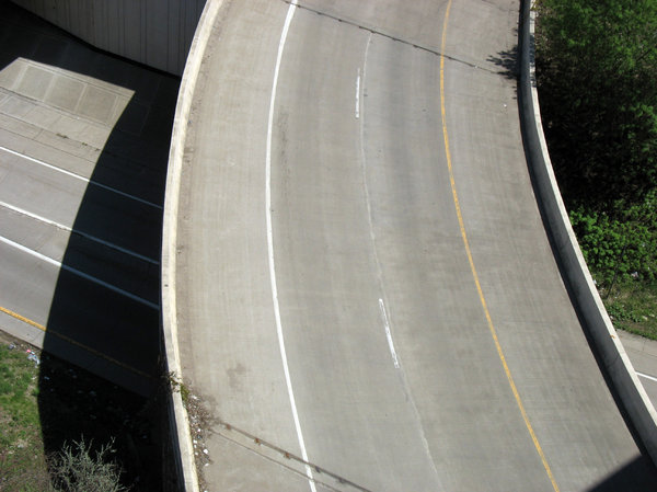 highway overpass: a highway overpass, viewed from above.