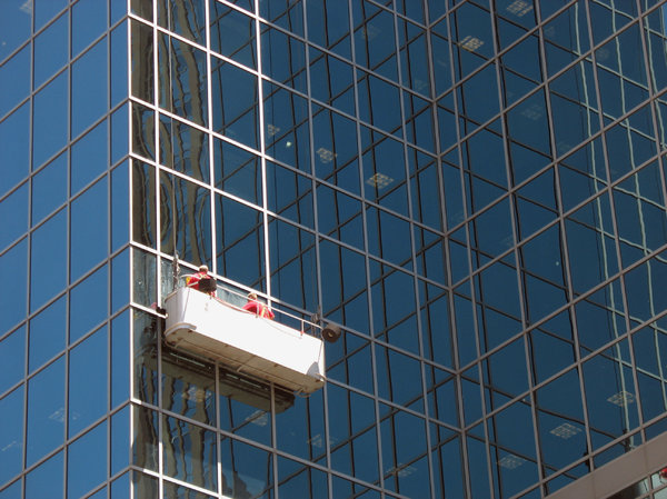 window washers: window washers at work.