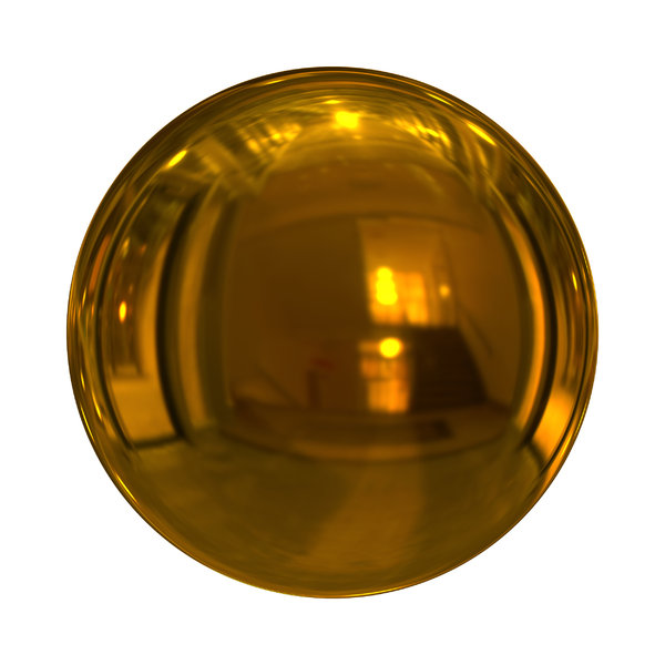 Christmas Baubles 6: Decorative Christmas bauble or ball in yellow gold with a shiny and reflective surface.