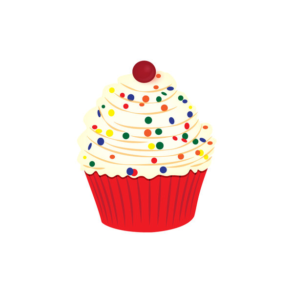 cupcake confetti: a festive illustration of a cupcake with sprinkles and a cherry on top  please leave a link where you use this image thank you