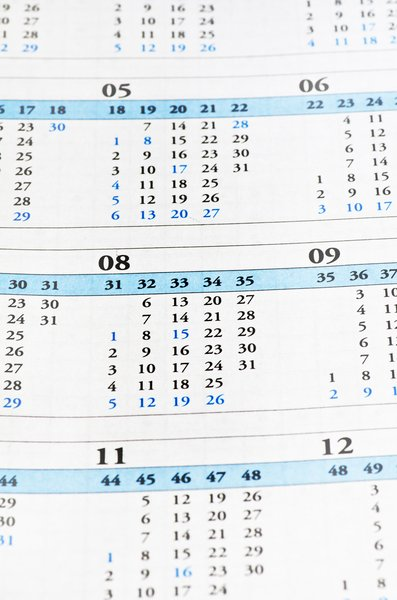Calendar sheet: calendar dates and paper