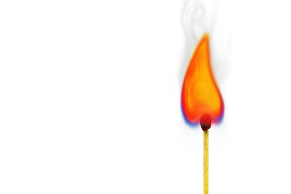 Match and flame illustration: flaming match