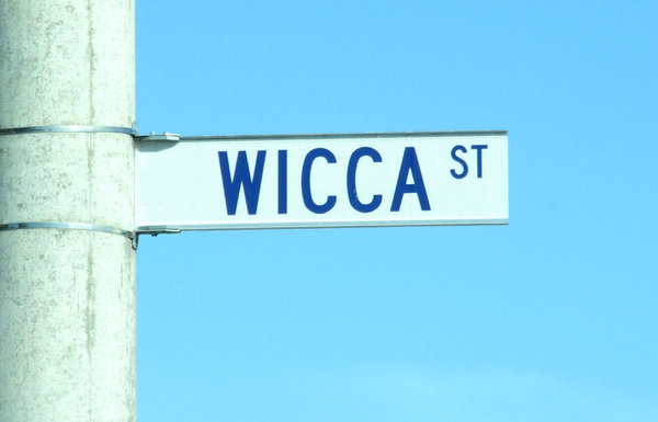 street of witches: reflective street sign with interesting name