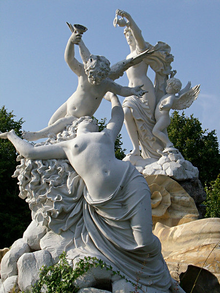 cliveden fountain: section of sculpted fountain built in 17th century semi nude with cherubs