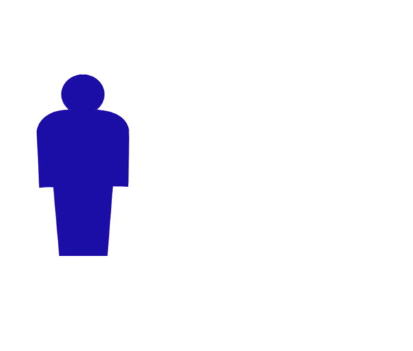Man: Pictogram of a man in blue. Plenty of copyspace.