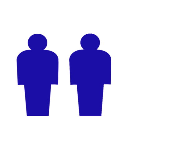 Two Men: Pictogram of two men in blue. Plenty of copyspace.