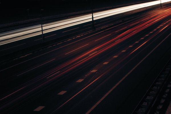 Road: The freeway by night, light trails