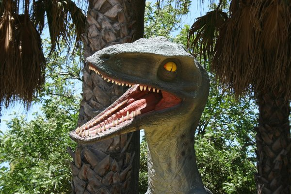 Dinosaur: Velociraptor dinosaur model in a public park in Spain. Photography in this park was freely permitted.