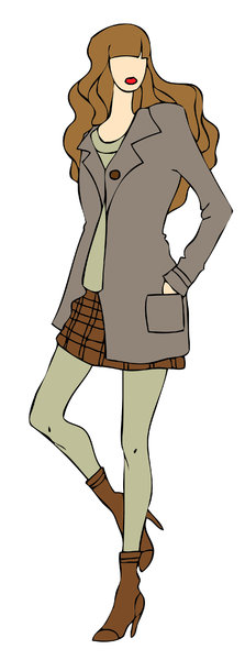 Fashionista: Illustrated girl with brown fashionable clothing.