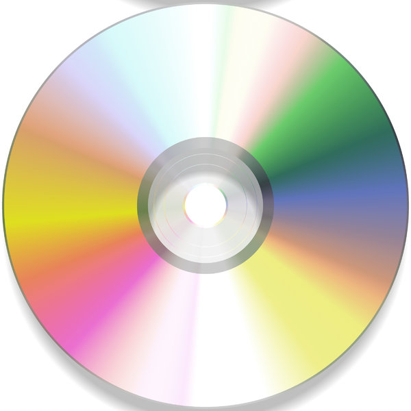 DVD or CD 1: A DVD or CD, with reflected colours and light. Pink, yellow, green and blue colours in the laser refraction.