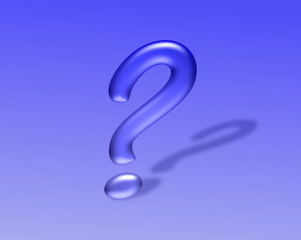 Question Mark 3: Question mark in 3D, with a shadow, against a blue coloured background.