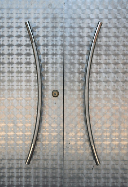 Door: A stainless steel door.