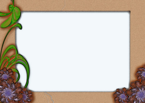 Old style paper frame: paper frame in differnt textures with flower and leaf motif