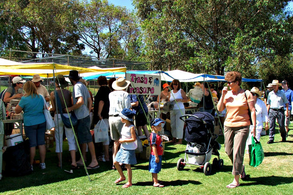all the fun of the fair: members of the public attending a community fair