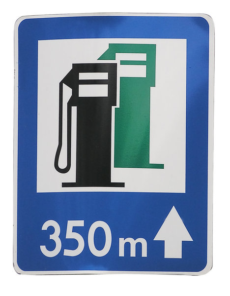 Gas station: Gas station ahead - 350 meters,