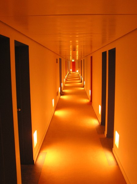Hotel corridor: A hotel corridor in the night.