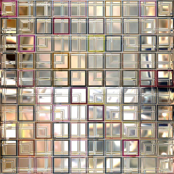 3D Glass Squares: A window made of 3d glass squares with a metallic frame. Great texture or background. Useful for scrapbooking.