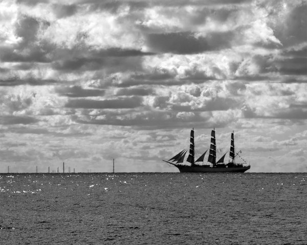 Sailing ship: Polish sailing ship Dar Mlodziezy on Baltic Sea, near Gdynia