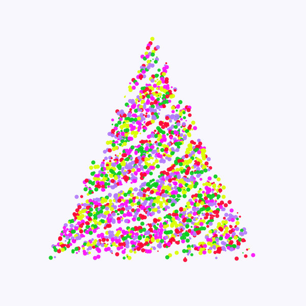 Colourful Christmas Tree: A Christmas tree made ofcoloured bubbles, circles or paint. Lots of fun colours, and plenty of copyspace. White background.