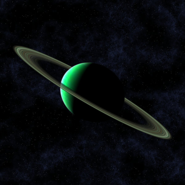 Green Planet: A green planet in space, with rings like Saturn.