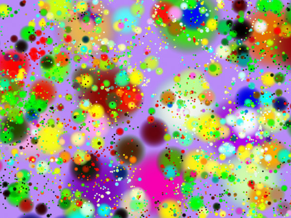 Gone Dotty 2: A vibrant, gaudy, chaotic pattern of dots with a 3d effect, which would make a celebratory background for something festive. A great fill and texture, too.