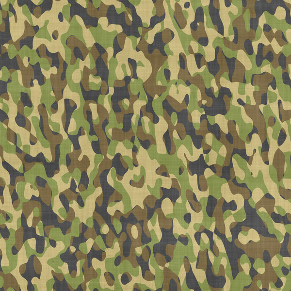 Camouflage 2: Camouflage patterned cloth in forest colours.
