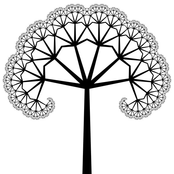 Fractal Tree: An ornate fractal tree in black and white. Very decorative for a card, etc. You must ask me for permission if you wish to use this on saleable items or if you wish to offer it for download elsewhere.