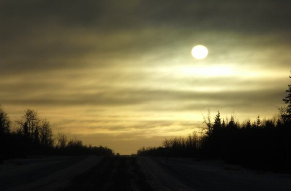 Early winter drive: Leaving Cochrane Ontario early in the morning.