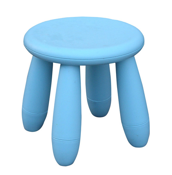 Taboret: A blue taboret.