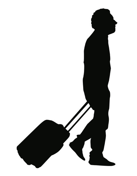 Tourist silhouette: A tourist with the suitcase on a wheels.