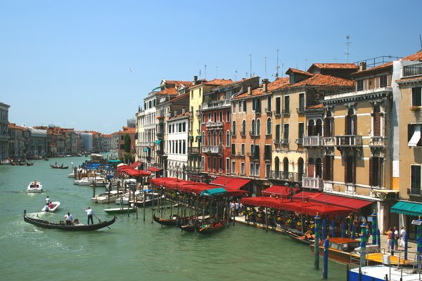 Restaurants in Venice: Restaurants by the Grand Canal, Venice, Italy.