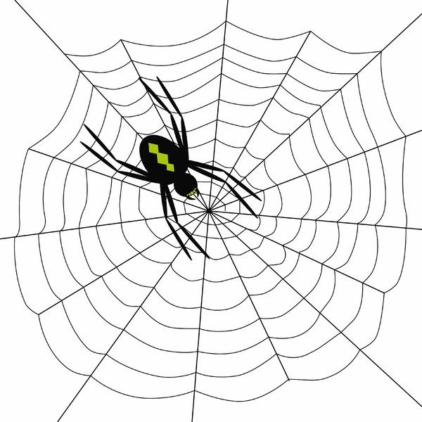 Arachophobia: Spooky spider on web.  Black on white.