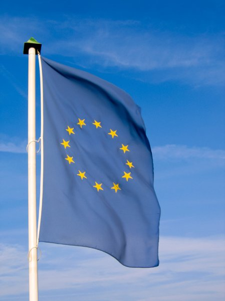 european flag 2: european flag in the wind 2