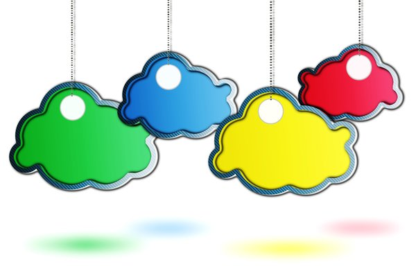 RGB cloud tags: colored clouds illustration